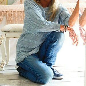 Lauren Ralph Lauren Tops - LAUREN RALOH LAUREN WMNS BLUE COTTON SWEATER TUNIC